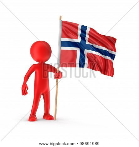 Man and Norwegian flag (clipping path included)