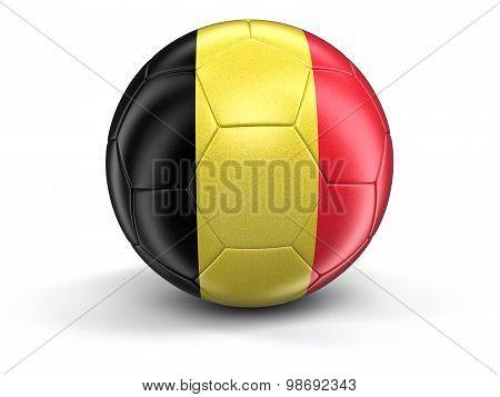 Soccer football with Belgian flag