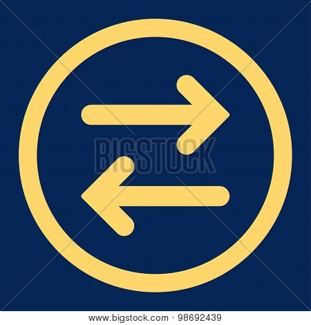 Flip Horizontal flat yellow color rounded vector icon