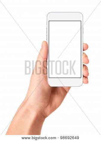Holding the white smartphone