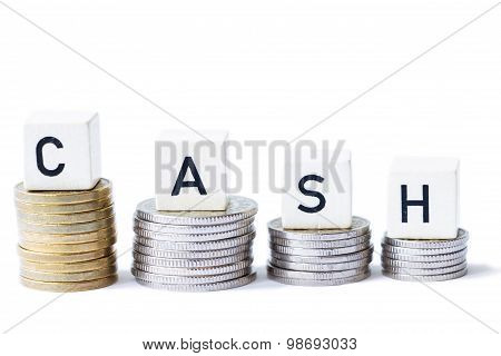 Stack Of Money With The Word Cash Isolated White Background