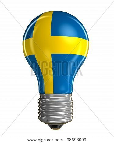 Light bulb with Swedish flag (clipping path included)