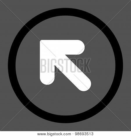Arrow Up Left flat black and white colors rounded vector icon