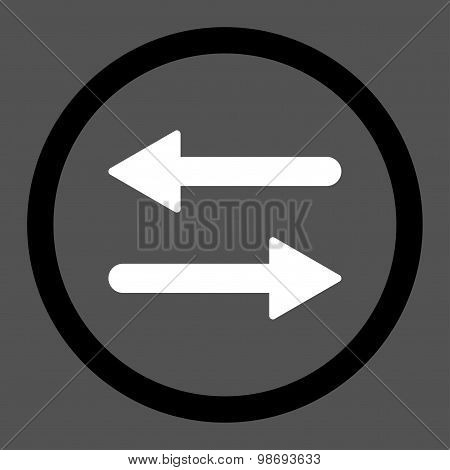 Arrows Exchange flat black and white colors rounded vector icon