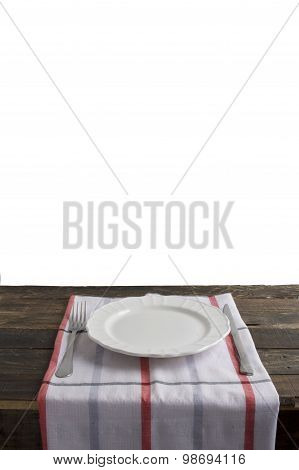 Emplty Plate With Fork And Knife On Isolated Background