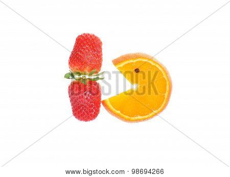 Strawberry And Orange Slice On White Background
