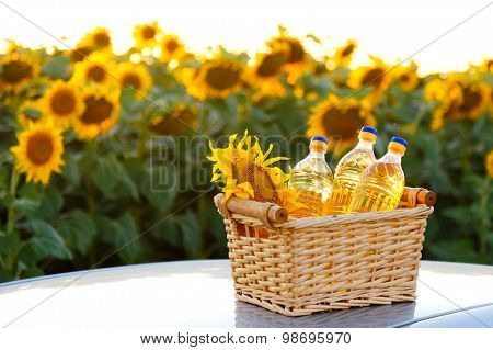 Three Bottles Of Sunflower Oil In A Wicker Basket On The Background Of The Field
