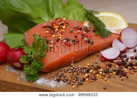 Fresh Raw Salmon Ready To Cook