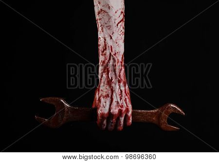 Bloody Hand Holding A Big Wrench, Bloody Wrench, Big Key, Bloody Theme, Halloween Theme, Crazy Mecha