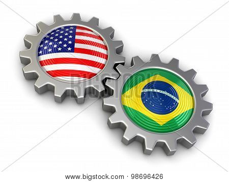USA and Brazilian flags on a gears (clipping path included)