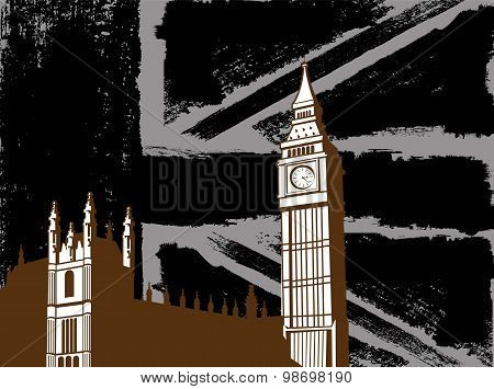 Black British  Design with Big Ben Flag