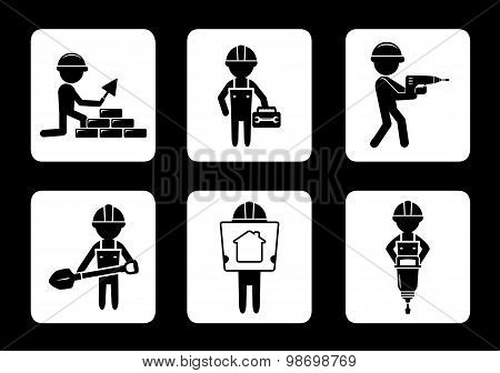 set construction icons with builders