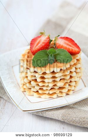 Waffles, Mint And Ripe Strawberries
