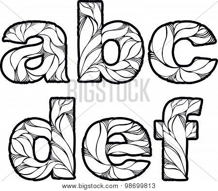 Herbal style decorative beautiful font, typeset with floral elegant ornament. A, b, c, d, e, f