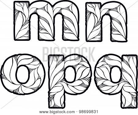 Vintage ornamental beautiful font, typeset with floral elegant ornament  M,  n, o, p, q, small letter poster