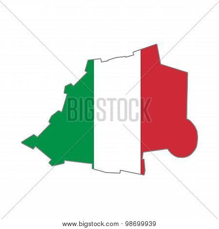 Map flag of the Vatican and Italy
