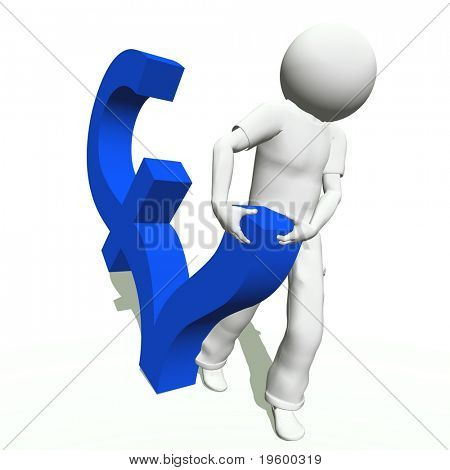 High resolution conceptual 3D human carrying a blue pound symbol, isolated on white background.It is a metaphor ideal for business or banking design