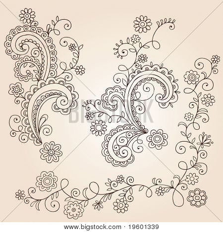 Hand-Drawn Abstract Henna Mehndi Abstract Flowers and Vines Paisley Doodle Vector Illustration Design Elements