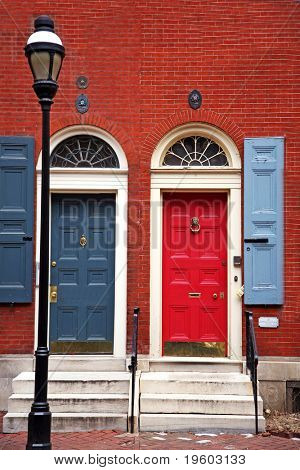 colorful doorway entrance in historic philadelphia