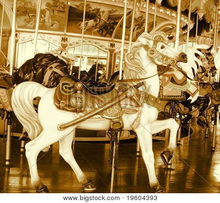 carousel horse ride done in sepia