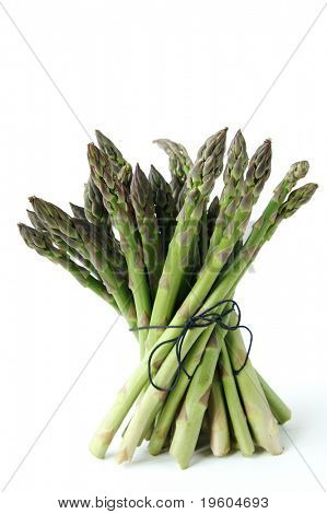 An isolated still life of asparagus