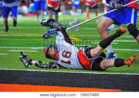 Lacrosse player falling down
