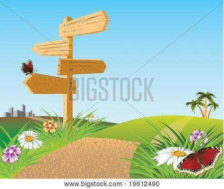 Pointer of way. Road forward. Vector illustration.