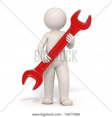 3D Man - Service Symbol - Red Spanner