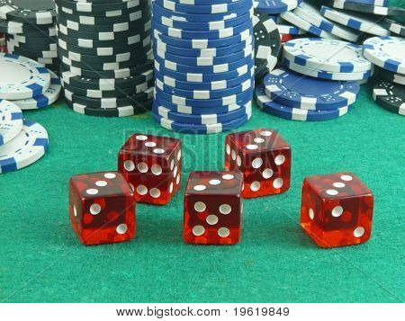 Repoker in red casino dice