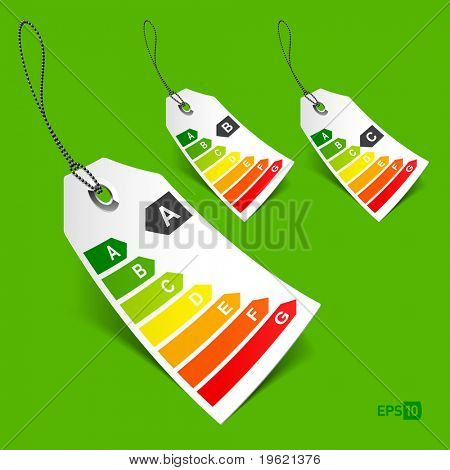 Energy classification tags. Vector - eps10