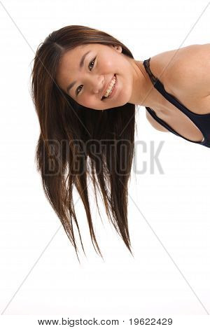 Portrait Of Happy Woman Leaning Into The Picture