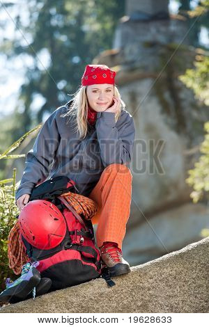 Active Woman Rock Climbing Sitting Backback