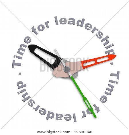 Time for leadership business leader market leader or team leader management to lead organization towards success isolated clock with text