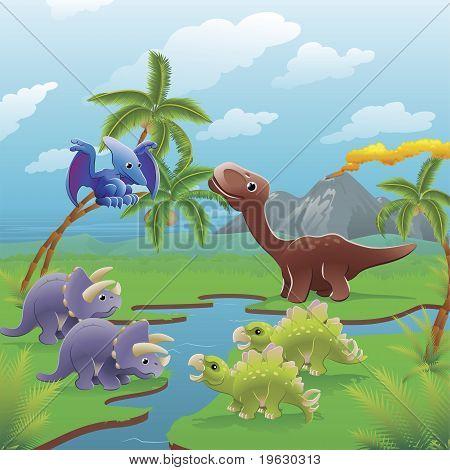 Desenho animado dinossauros cena.