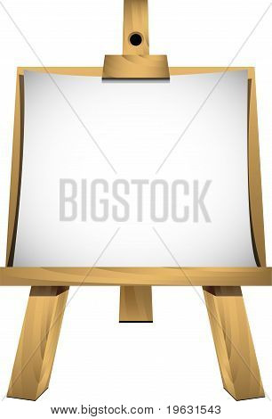 Easel with a blank sheet of white paper for your image or text