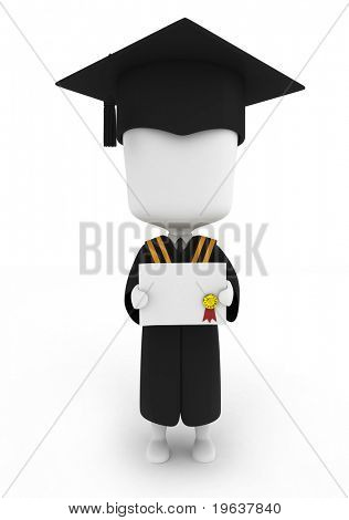 3D Illustration of a Graduate Showing His Certificate