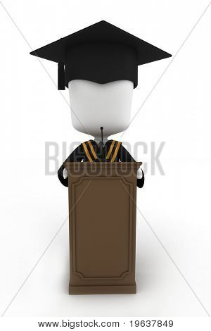 3D Illustration of a Graduate Giving a Speech