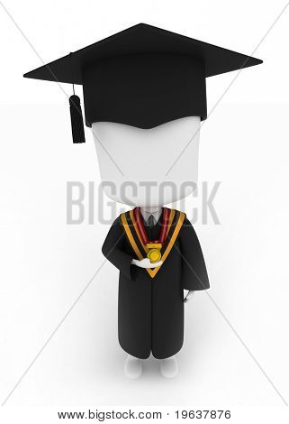 3D Illustration of a Graduate Holding His Medal Looking Up