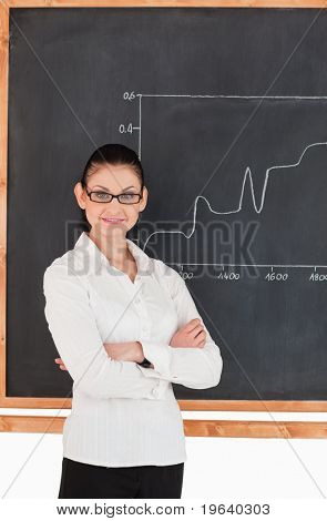 Dark-haired scientist explaining charts while looking at the camera in a lab