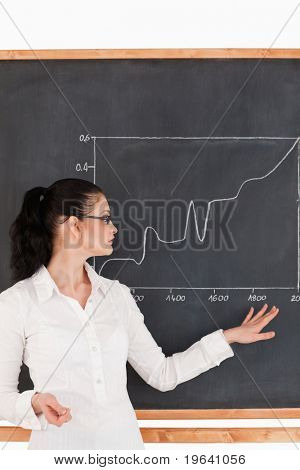Dark-haired teacher explaining charts to students in a classroom