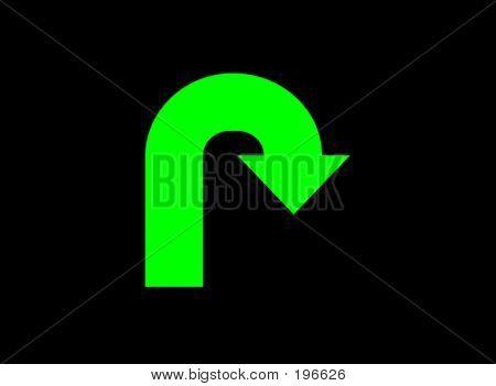 Sign Green Glow U-turn