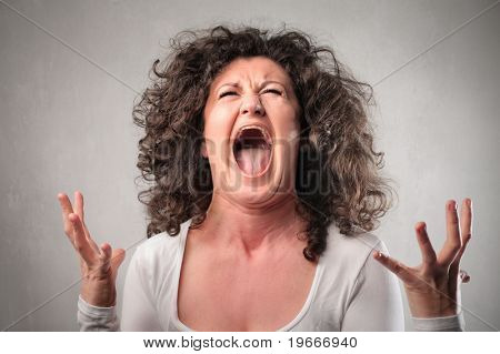 Furious woman shouting