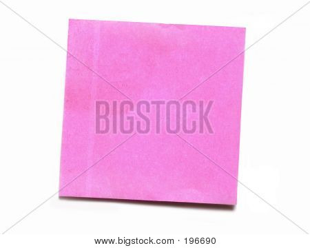 Isolated Blank Pink Self-Adhesive Note Paper