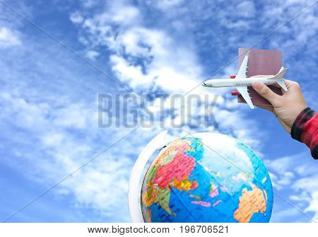 poster of Tourist holding airplane flight travel and passport traveller fly travelling citizenship air on blue sky background. Travel Concept.