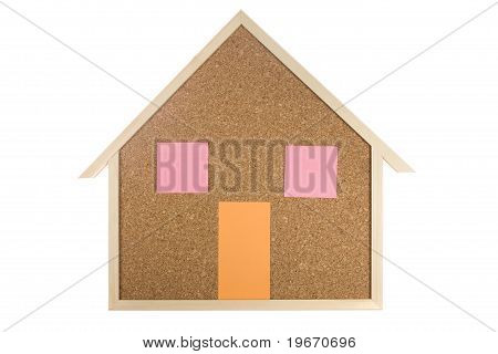 Home Interior Cork Bulletin Board On Isolated White