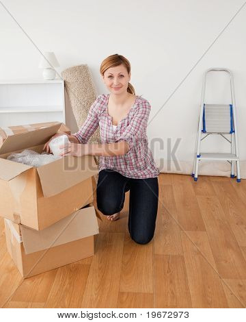 Cute Blond-haired Woman Preparing To Move House