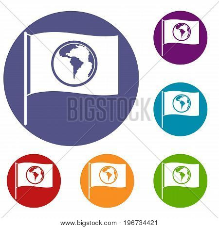 Flag with world planet icons set in flat circle red, blue and green color for web