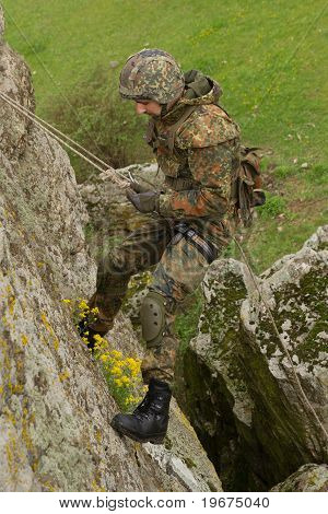 Soldier Rappeling