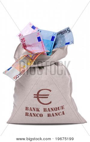 Photo of a money bag full and overflowing Euro banknotes, cut out on a white background.