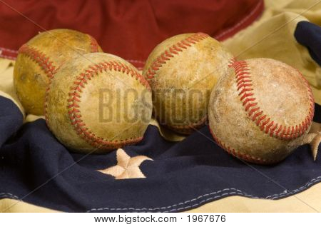 Baseball On Flag Bunting